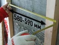 Установка каркаса с шагом 590 мм