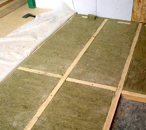 Теплоизоляция пола каменной ватой