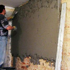 Нанесение теплоизолирующего штукатурного покрытия